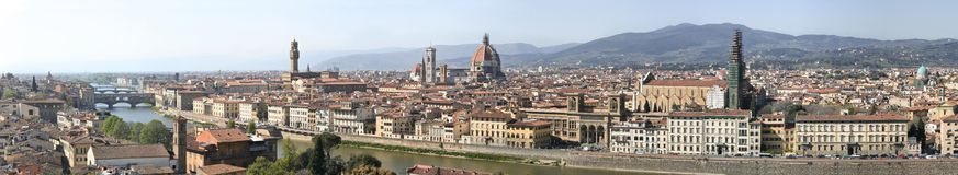 Florence panorama. Detailed panorama (12261 x 2248 pixels 27+ MP) of Florence, a travel destination of Italy stock images