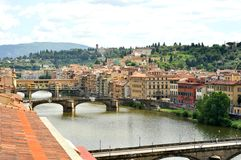 Florence panorama with famous bridges and river , Italy Stock Photo