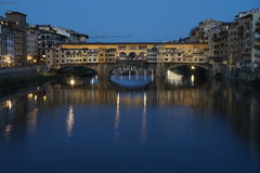 Florence panorama (Firenze). City view of Firenze in evening, the ponte vecchio in the river Arno Royalty Free Stock Image