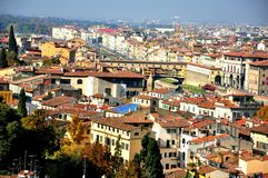 Florence city panorama with the old bridge , Italy Stock Photos