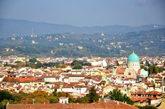 Florence panorama med den stora synagogan, Italien arkivfoton