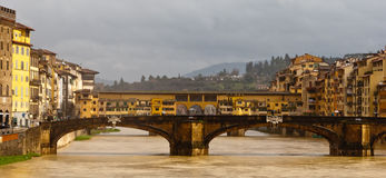 Florence, panorama with Old Bridge Stock Images