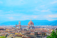 Florence panorama with Palazzo Vecchio and Santa Maria del Fiore Stock Images