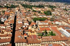 Florence panorama seen from the Duomo  , Italy. Florence city view with toproofs of historical buildings. old architecture in europe. geometry of the city with Royalty Free Stock Photos