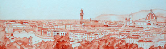 Florence Panorama. Watercolour Panoramic Cityscape of Florence Italy painted with one colour. Showing the river Arno, the Ponte Vecchio, Palazzo Vecchio Royalty Free Stock Images