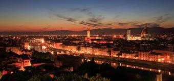 florence panoramasolnedgång Arkivbilder