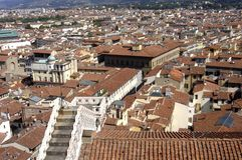 Florence panoramautsikt av staden av florence, tuscany, Italien fotografering för bildbyråer