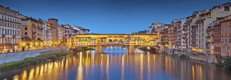 Florence. Panoramic image of historical center of Florence with Ponte Vecchio during twilight blue hour stock images