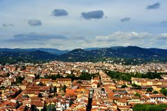 Florence panoramic scene in Tuscany  , Italy. Florence city view with toproofs of historical buildings. old architecture in europe. geometry of the city with Stock Photos