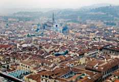 Florence panoramic view and The Basilica di Santa Croce in the distance. Florence, Italy Stock Image
