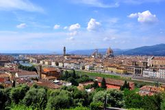 Florence panoramic view, Italy. Buildings and bridges on the river Arno in Florence city, Italy stock images