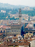 Florence panoramic view and The Palazzo Vecchio and Arnolfo tower. Florence, Italy Royalty Free Stock Photos