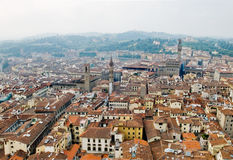 Florence panoramic view and The Palazzo Vecchio. Florence, Italy Royalty Free Stock Images