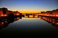 Florence par nuit, Italie image libre de droits