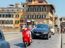 Florence. Photo on the move with the bike. stock photo