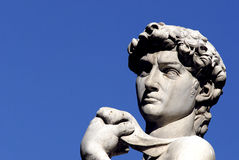 Florence - Piazza della Signoria. Close up portrait of Michangelo's David in Piazza della Signoria on a clear day Royalty Free Stock Image