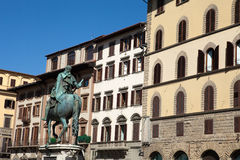 Florence. Piazza della Signoria The equestrian statue of Cosimo I de Medici by Gianbologna Royalty Free Stock Photography