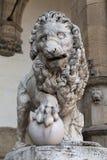 Florence. Piazza Della Signoria. Lion sculpture Royalty Free Stock Image
