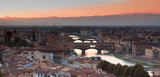 Florence from Piazzale Michelangelo. Florence at sunset from Piazzale Michelangelo. You can see Ponte Vecchio Stock Photography