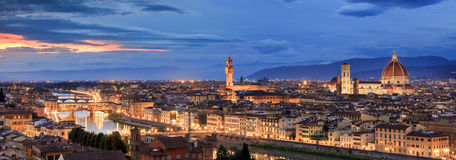 Florence. From Piazzale Michelangelo, showing ponte vecchio, duomo and palazzo vecchio royalty free stock image