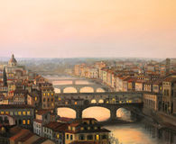 Florence Ponte Vecchio. An oil painting on canvas of a sunset over Florence (Firenze) with the river Arno and ponte vecchio in warm light Royalty Free Stock Photography
