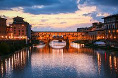 Florence and Ponte Vecchio Royalty Free Stock Photography