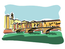 Florence (Ponte Vecchio). Illustration of Ponte Vecchio in Florence Stock Photo