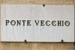 Florence Ponte Vecchio marble sign Stock Photography