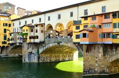 Florence Ponte Vecchio. Ponte Vecchio spanning over Arno river in Florence (Firenze Stock Photo