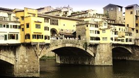Florence, ponte vecchio. Typical Italian cityscape stock footage