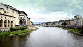 Florence, ponte vecchio. Typical Italian cityscape stock video footage