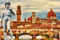Florence postcard. Grungy artistic photo collage of Florence stock image