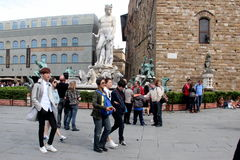 Florence reality set of China  Were are we going, Dad. The seven star are photographer in Florence italy on the set of reality show. stars of China: Zheng Pei Stock Images