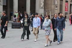 Florence reality set of China  Were are we going, Dad. The seven star are photographer in Florence italy on the set of reality show. stars of China: Zheng Pei Stock Photography