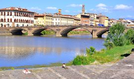 Florence city with historical buildings and river , Italy Stock Photos