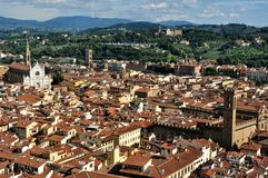 Florence roofs in city center , Italy. Florence city view with toproofs of historical buildings. old architecture in europe. geometry of the city with symetrical royalty free stock photo
