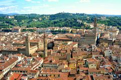 Florence roofs in city center , Italy. Florence city view with toproofs of historical buildings. old architecture in europe. geometry of the city with symetrical Royalty Free Stock Photography