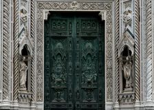 Florence& x27;s Cathedral, the Duomo - detail of the architecture and main door.  royalty free stock photos