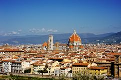 Florence and Saint Mary of the Flower panoramic view, Tuscany, Italy Stock Image