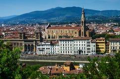 Florence Santa Croce franciscankyrka Arkivbilder