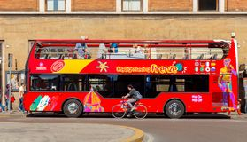 Florence. Sightseeing bus. Florence, Italy - May 18, 2015: Sightseeing bus tour of the city. A convenient way to get acquainted with the city's main attractions royalty free stock images