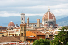 Florence skyline. Florence seen from Michelangelo square: Palazzo Vecchio, the Duomo and Campanile Tower, beautiful sky, hills in the horizont royalty free stock images