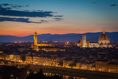 Florence Skyline After Sunset Stock Photography
