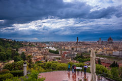 Florence Skyline City, Tuscany, Italy. Florence seen from Michelangelo square Arno River, Palazzo Vecchio, Duomo, beautiful sky, hills in the horizont Royalty Free Stock Images