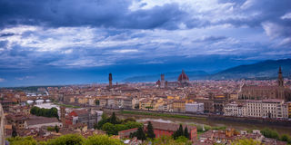 Florence Skyline City, Tuscany, Italy. Florence seen from Michelangelo square Arno River, Palazzo Vecchio, Duomo, beautiful sky, hills in the horizont Stock Photography