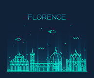 Florence skyline silhouette vector linear style Royalty Free Stock Photo