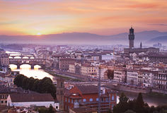Florence skyline at sunset, Italy stock photography