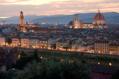 Florence. Skyline at sunset from Piazzale Michelangelo royalty free stock photo