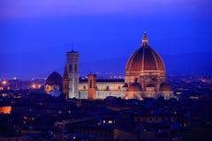 Florence skyline at twilight, Italy. stock photo