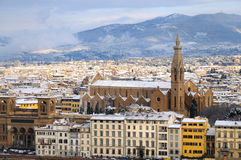 Florence on a snowy day in winter, Tuscany, Italy. Florence on a snowy day in winter, Basilica of Santa Croce Stock Photo